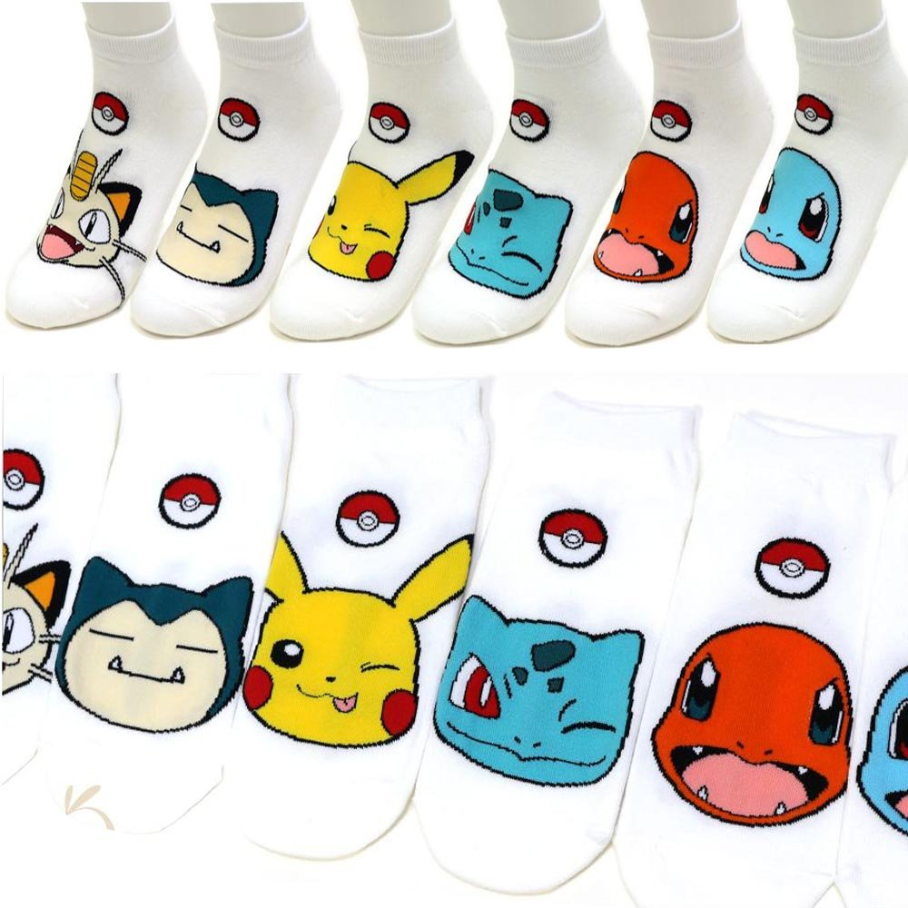 Boy's 6pk Low-Cut Socks Pokemon Go Meowth Snorlax Pikachu Ivysaur Charmander Character Women's Ankle Socks / Socks Gift by Small luxury socks factory (Image #7)