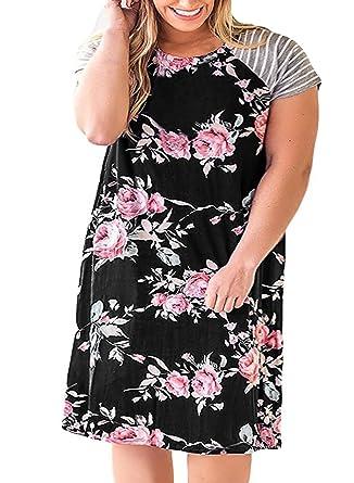 b990ebf014 Womens Plus Size Floral T Shirt Dresses Striped Raglan Short Sleeve Casual  Summer Midi Dress Black