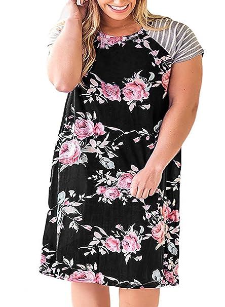 d628b7bb695 YONYWA Women Plus Size T-Shirt Dress Floral Striped Short Sleeve Casual A  Line Midi