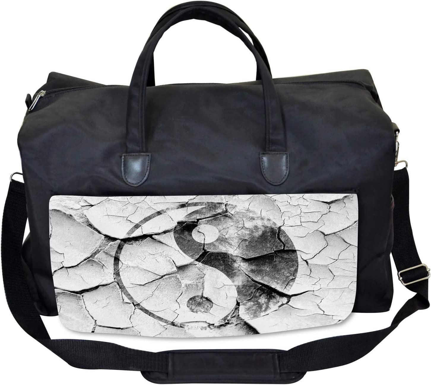Large Weekender Carry-on Ambesonne Zen Gym Bag Ying Yang Grunge Display