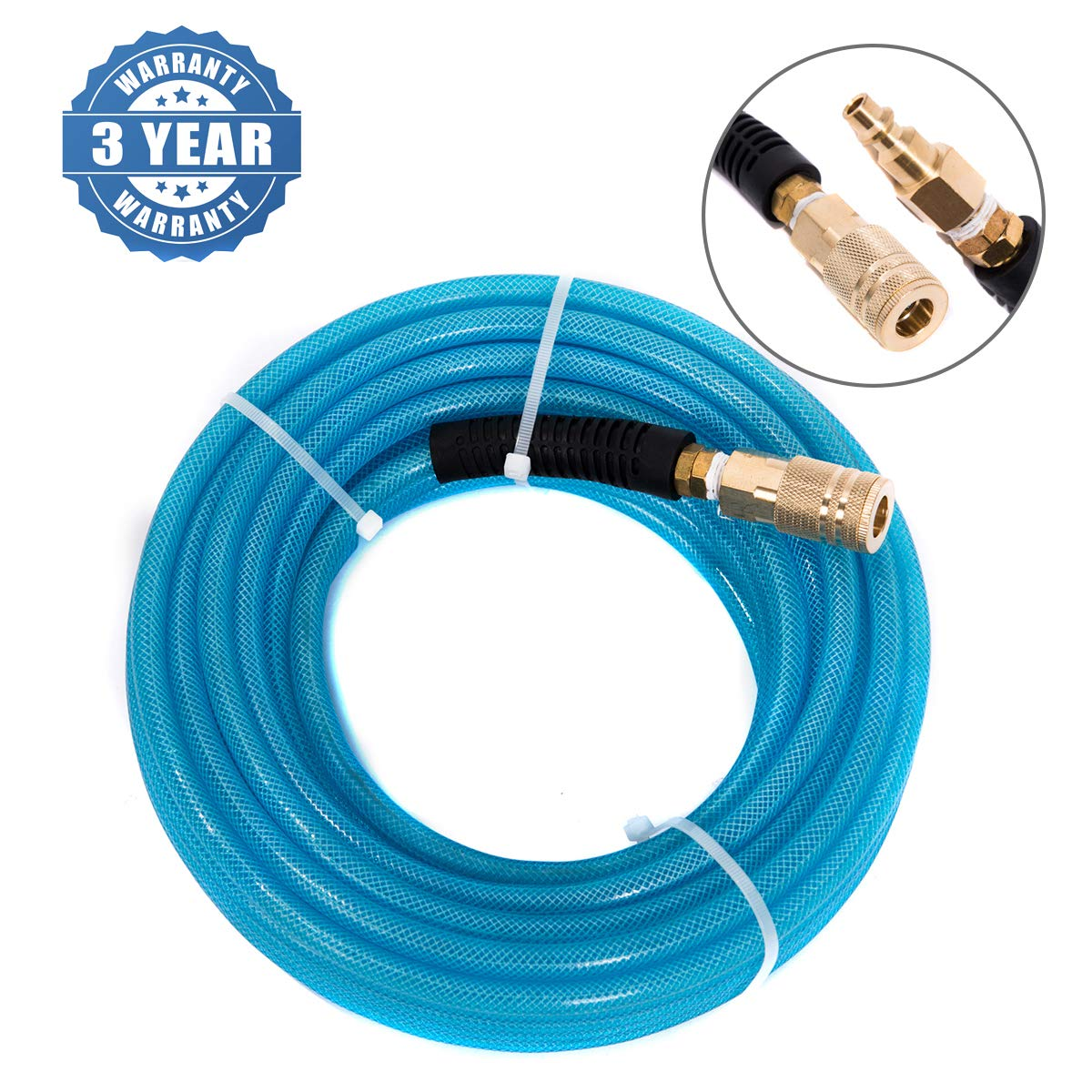 100Ft Air Hose 1/4 in ID, 300 PSI, Polyurethane (PU) Hoses with 1/4 in Quick Connect Plug & Coupler Fittings Blue