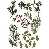 """Lote de 12 troqueles Thinlits de Sizzix con formas de plantas navideñas """"Holiday Greens Mini"""" diseñados por Tim Holtz, multicolor"""