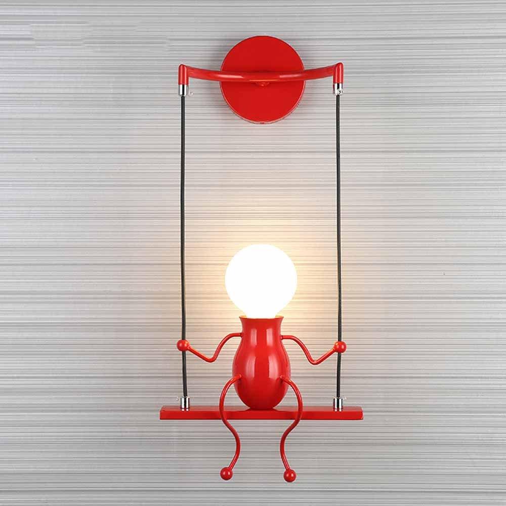 Creative Lampe Murale Caractéristique Lampe De Nuit Moderne Mur Applique Poupée Balançoire Enfants Mur Lampe Convient Pour Chambre Chevet, Chambre D'enfants, Couloir, Restaurant, Escalier E27,Red [Classe énergétique A] Chambre D' enfants Hanamaki