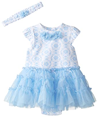 d07318408 Amazon.com  Little Me Baby Girls  Blue Damask Tutu Popover and ...