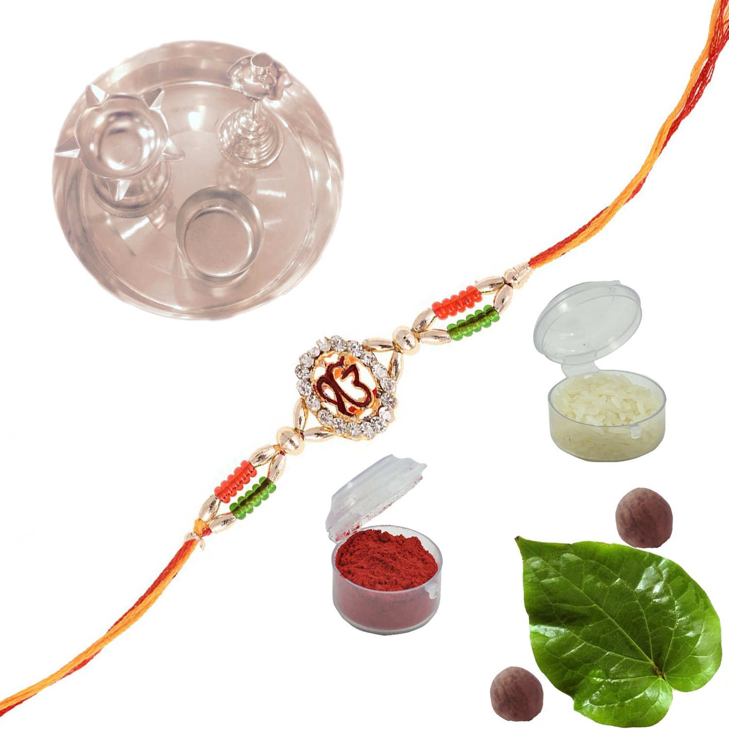 Amba Handicraft Multi-Coloured Silk Exclusive designer traditional ethnic attractive rich indian royal colorful india beautiful sister brother lovely Rakhi Set