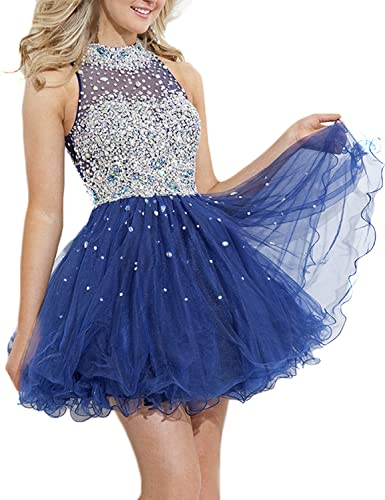 SeasonMall Women's Short Prom Dresses A Line High Neck Tulle Homecoming Dresses