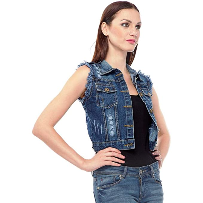 6cecfe07ac1b9 Girls Shopping Sleeveless Blue Denim Jacket for Women (Size- Small)   Amazon.in  Clothing   Accessories