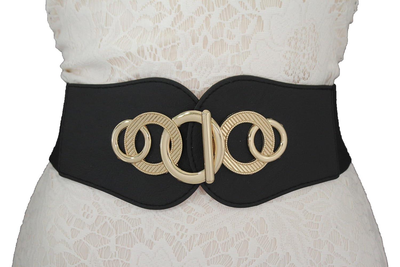 TFJ Women Wide Fashion Elastic Belt Hip High Waist Gold Metal Hook Buckle Stretch S M