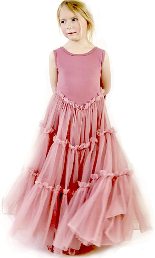 Bohemian Vintage Style Peach Pink Full Lace Back Tulle Flower Girl Dress