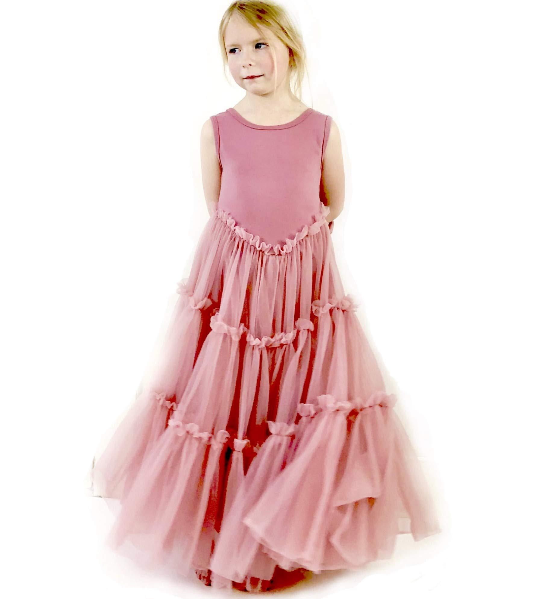 Jennifer and June Pink Fluffy Layered Tutu Flower Girl Ballerina Toddler Dress. (4T - 5T) by Jennifer + June