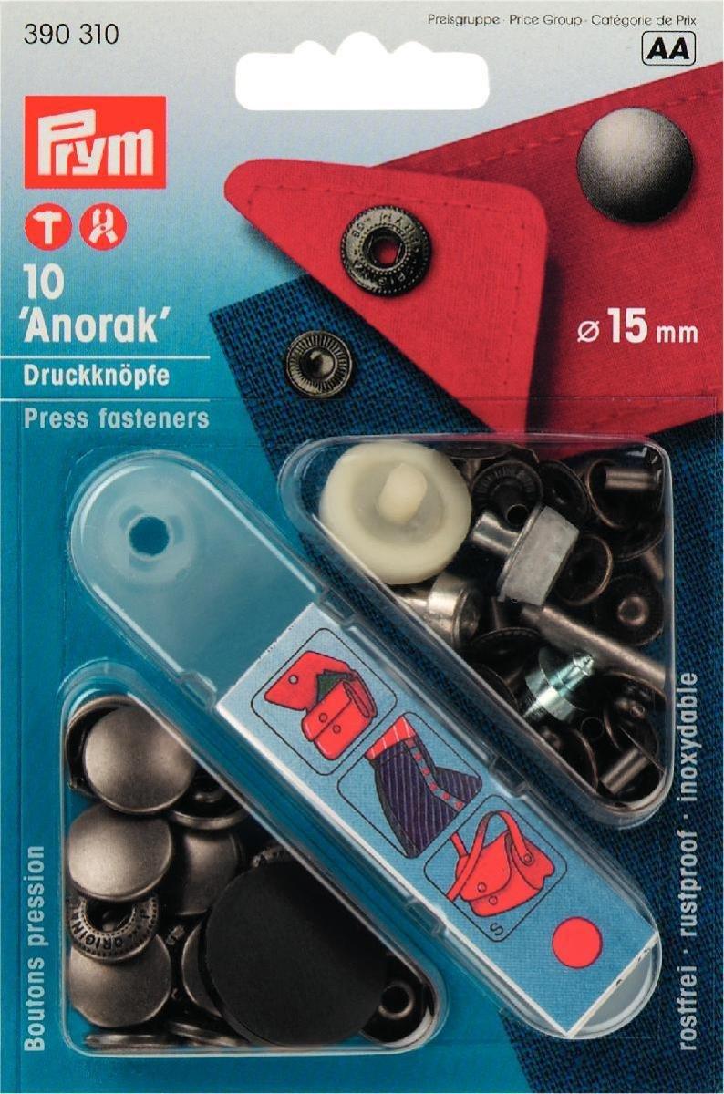 Prym - Anorak, Bottoni a Pressione, Senza Cuciture, Ø 15 mm, in Acciaio Effetto Antico Ø 15 mm PRYM_390310-1