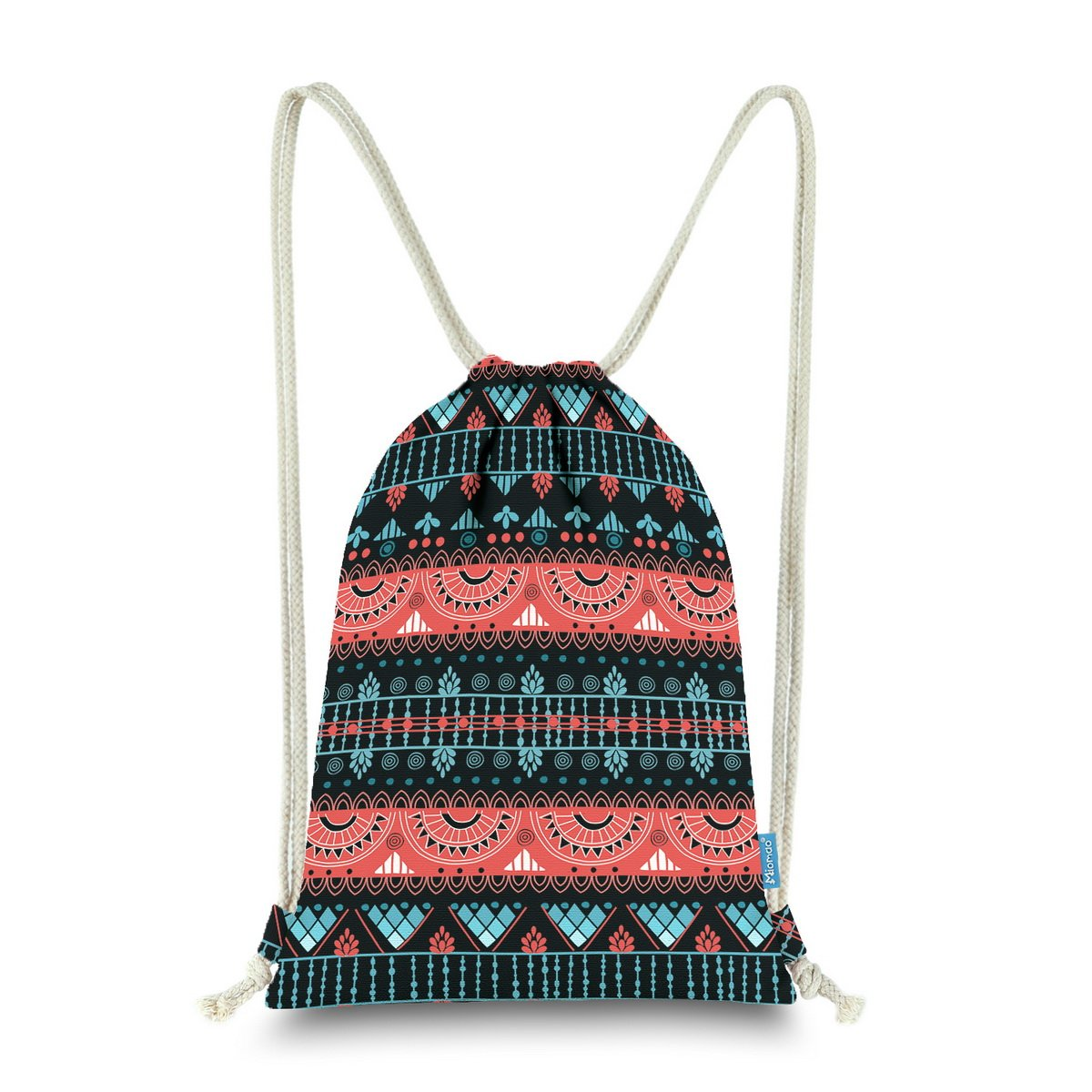 Miomao Gym Sackpack Drawstring Backpack Ethnic Bohemia Style String Bag Fleece Boho Sinch Sack Sport Cinch Sack Christams Gift Beach Bag 13 X 18 Inches Sunset Glow