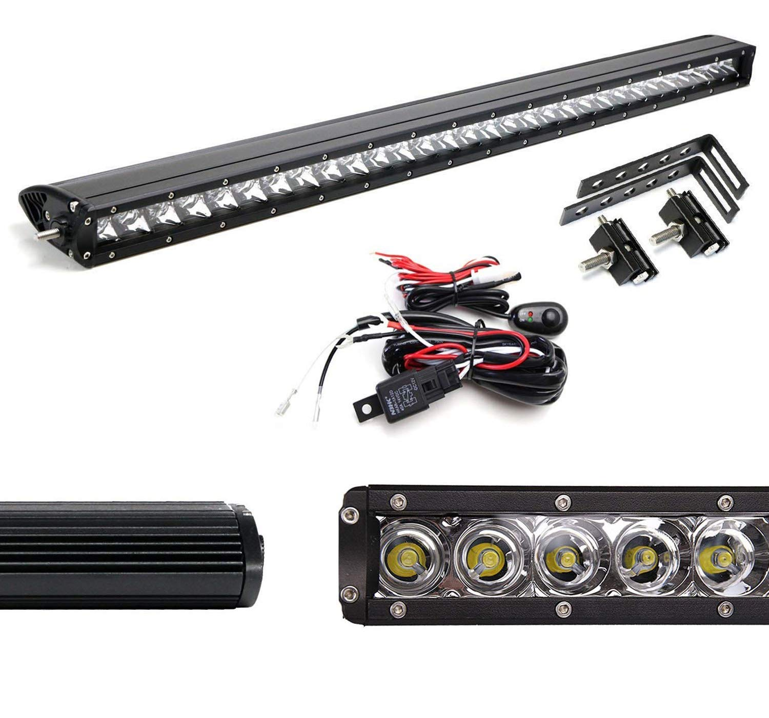 iJDMTOY Behind Grille Mount 30-Inch LED Light Bar Kit For ... on