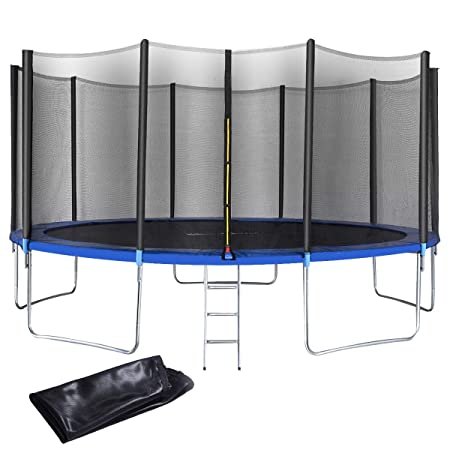 Giantex 12 FT 15 FT Trampoline Combo Bounce Jump Outdoor Trampoline for Family School Entertainment W Safety Enclosure Net Spring Pad Ladder Rain Cover
