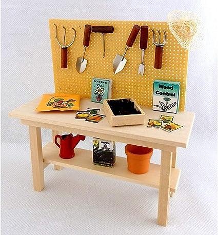 Dollhouse Wood Work Bench w Tool Rack 1:12 Garage Workshop Doll House Miniature