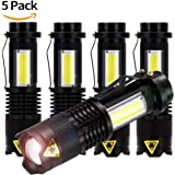 5 Pack New Mini Flashlights Cree Q5 LED Torch COB Lights Tactical Flash Lights 4 Modes 7w 300lm Adjustable Focus Zoomable Portable LED Flashlight