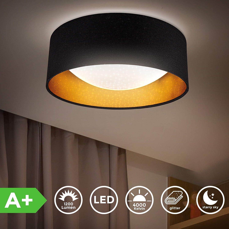 platine LED 12W int/égr/ée B.K.Licht Plafonnier /étoile noir dor/é lumi/ère blanche neutre 4000K suspension tissue chambre d/'enfant 1200Lm /éclairage plafond chambre entr/ée couloir