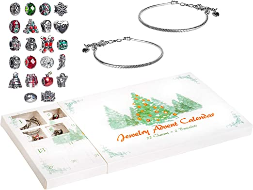 24 Gifts Total Present for Daughter Niece Granddaughter 1 Necklace /& 22 Unique Charms Jewelry Set Christmas Advent Charm Calendar with 1 Bracelet Red Co