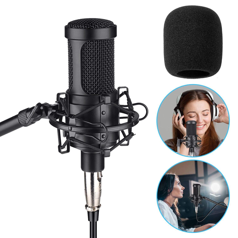 Aokeo AK-60 Micrófono de condensador profesional, estudio de música MIC Podcast Kit de grabación de micrófono con soport