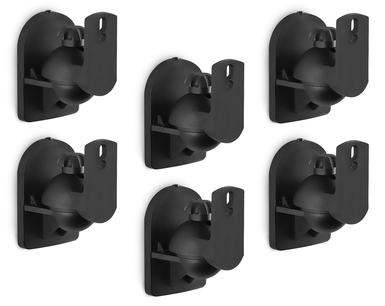 Mount-It! Speaker Wall Mount Low Profile Universal Speaker Hi-Fi Media 5.1 Channel Surround Sound Audio, Tilting, Swiveling, and Rotating, Adjustable, Ceiling and Wall Mounts, 6 Mounts, Black
