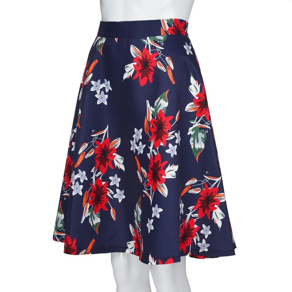 BaZhaHei Vestidos de Mujer Falda de Falda Skater con Falda Skater de Cintura  Alta con Estampado Floral de Verano para Mujer Falda de Cola de pez con ... 67e7cda199ac