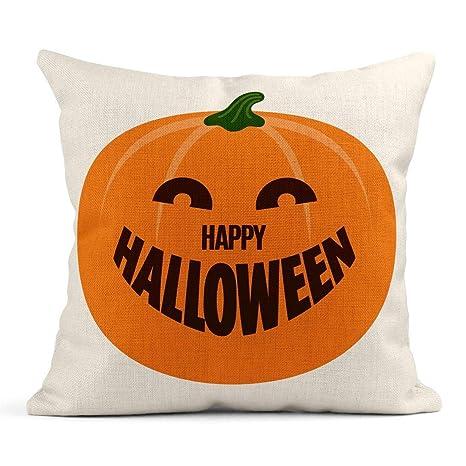 Cojín Naranja Abstracto Feliz Halloween Calabaza Otoño Vela ...