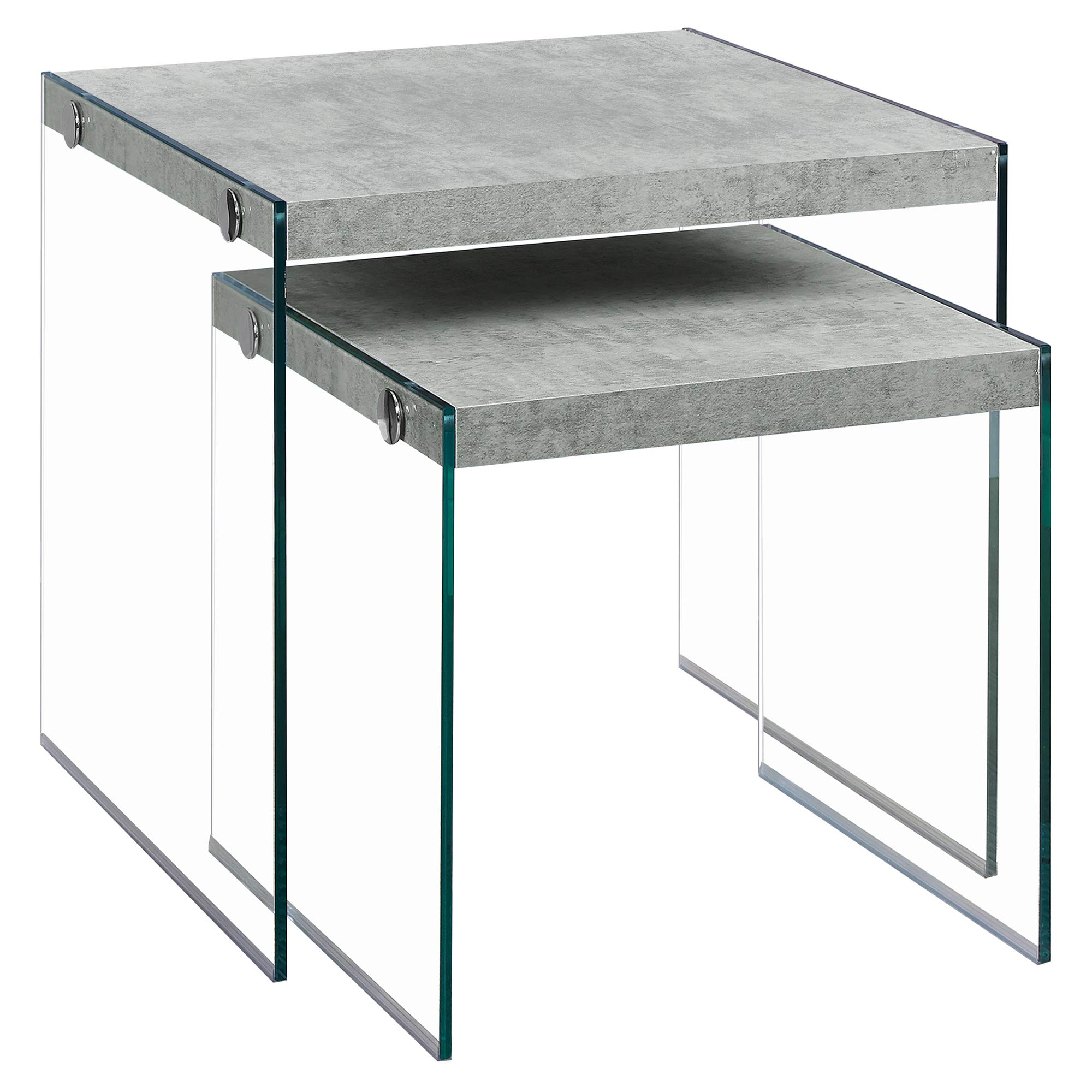 Monarch Specialties ,Nesting Table, Tempered Glass, Grey Cement by Monarch Specialties