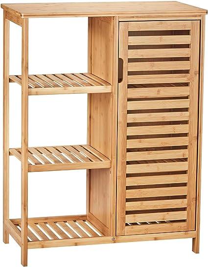 VIAGDO Armario de almacenamiento de baño con puertas y 3 estantes laterales, estantes de almacenamiento de bambú para sala de estar, dormitorio, ...