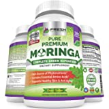 Moringa Oleifera 180 Capsules – 100% Pure Leaf Powder - Max 1000mg Per Serving - Complete Green Superfood Supplement - Full 3 Month Supply - Pure Miracle Tree Moringa Super Greens Powder Vegan Caps