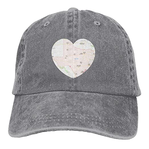 d8651b2b629 State Texas Map Love Heart Texas Pride Classic Unisex Baseball Cap  Adjustable Washed Dyed Cotton Ball
