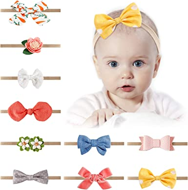 10PCS Baby Girl toddlers hairband Hair Bows Clips with elastic headbands *O