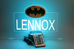 Batman Bat Man Superheroes Night Light Up LED Table Lamp Energy Efficient Boys Home Room Decor, Personalized Free Engraved, with Remote, 16 Color Options, A Must Have!