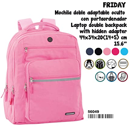 Amazon.com : Perona Friday Coral Double Adaptable Backpack 44cm : Office Products