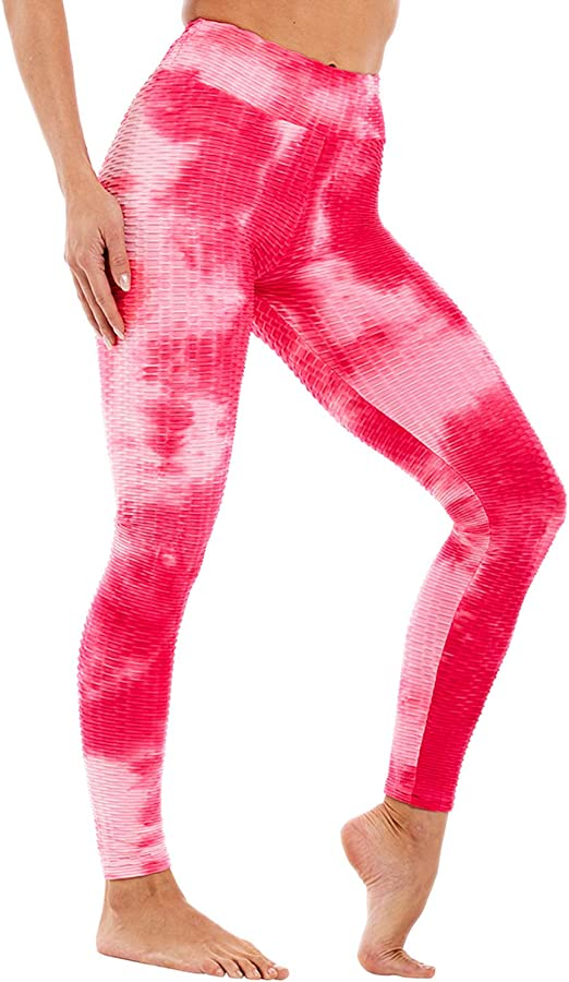 X-Large, R610 Pink Yoga Pants for Women High Waisted Tie Dye Print Leggings Gym Sport Fitness Ombre Seamless Leggings Athletic Pants