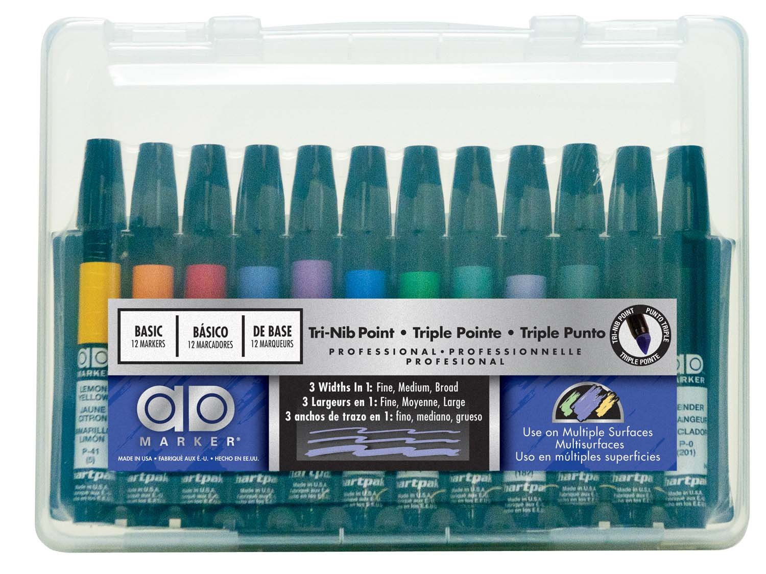 The punto is a complementary addition to any desktop it consists of a - Amazon Com Chartpak Ad Markers Tri Nib 12 Assorted Basic Colors In Plastic Carrying Case 1 Each Ad12set Office Products