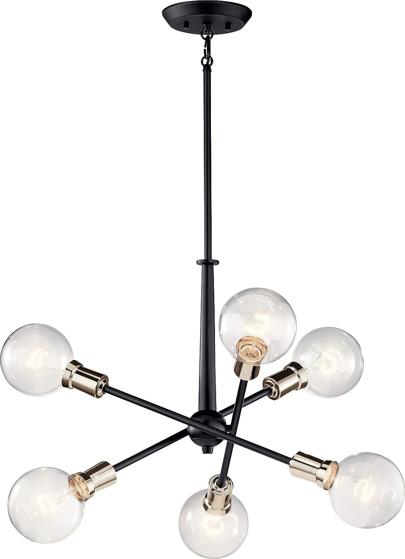 Kichler 43095BK Armstrong Chandelier, 6-Light 600 Total Watts, Black