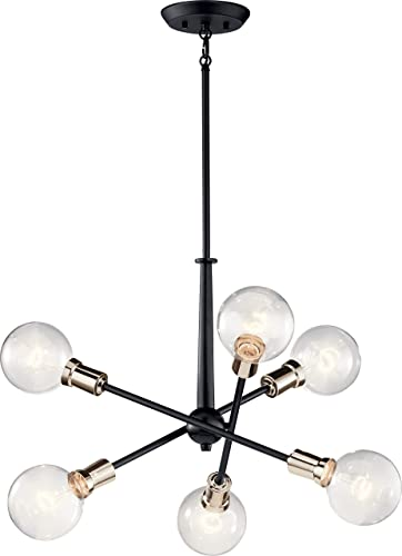 Kichler 43095BK Armstrong Chandelier, 6-Light 600 Total Watts, Black