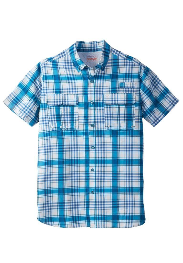 Boulder Creek Men's Big & Tall Off-Shore Short Sleeve Sport Shirt, Classic Teal
