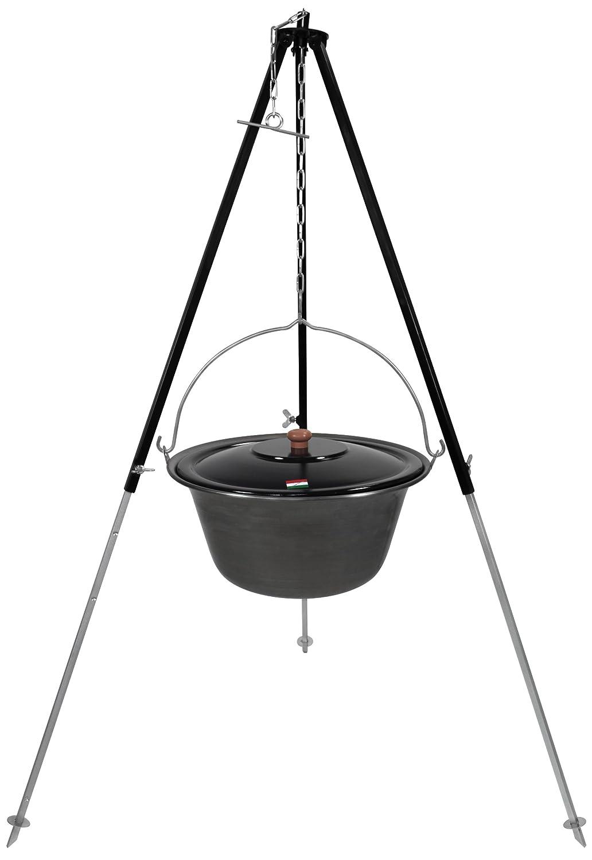 Gulaschkessel Eisen 15 Liter inkl. Deckel und Dreibein mit Kettenhöhenverstellung