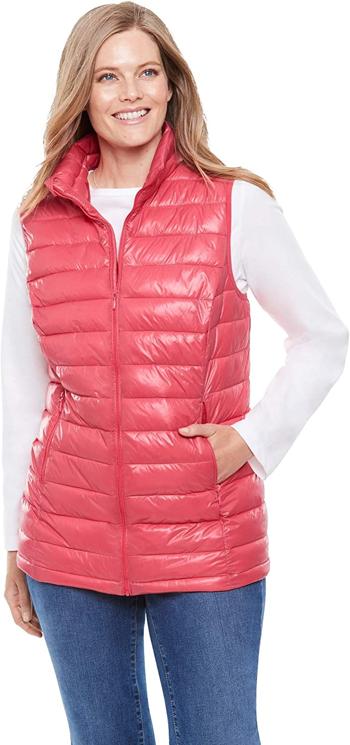 Woman Within Womens Plus Size Packable Puffer Vest