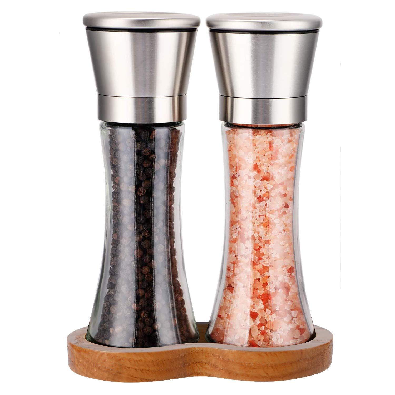 2pcs Set Salt Pepper Mill Grinders Stainless Steel Glass Peppercorn Spice Shaker