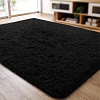 ACTCUT Super Soft Indoor Modern Shag Area Silky Smooth Rugs Fluffy Rugs Anti-Skid Shaggy Area Rug Dining Room Home Bedroom Carpet Floor Mat Mat 2' x 3', Black