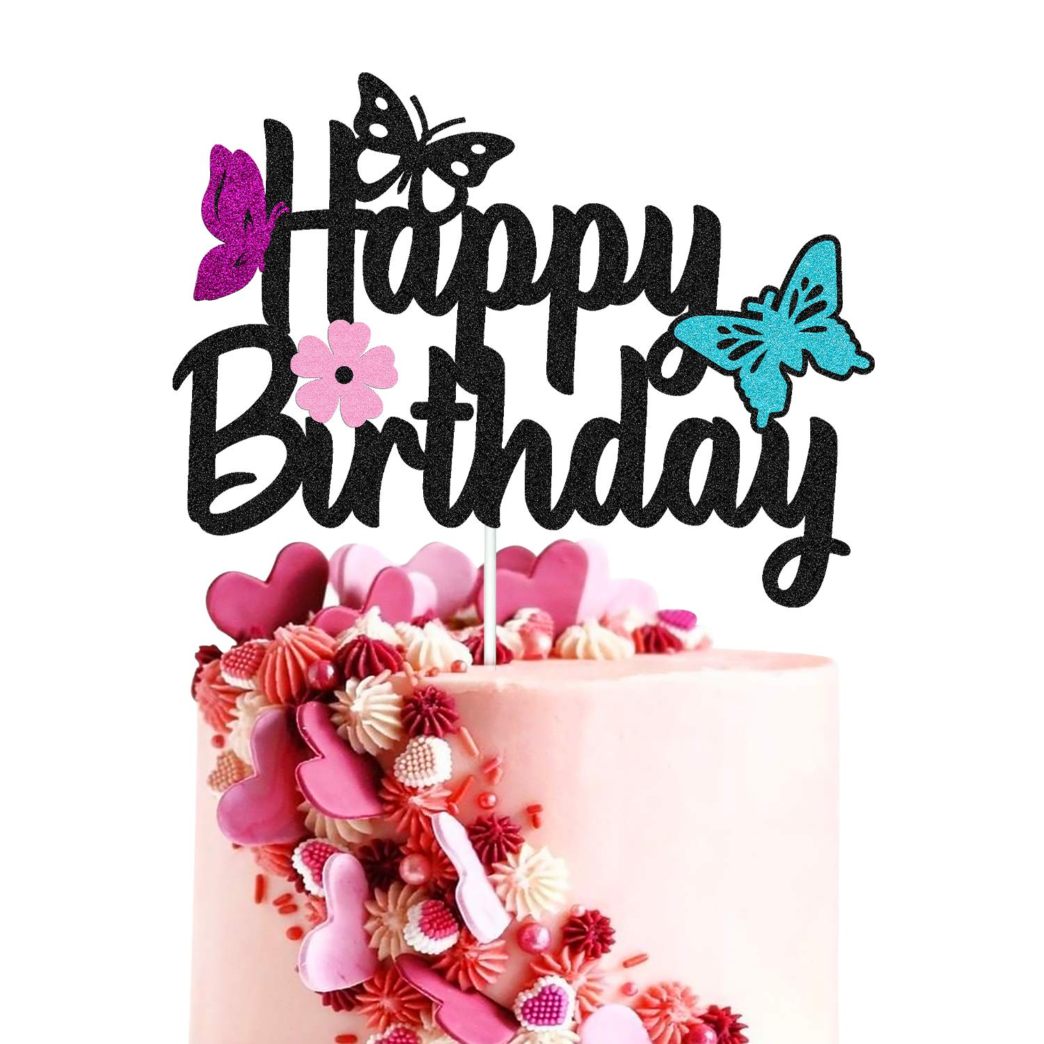 Butterfly Cake Topper Happy Birthday Sign Butterfly Silhouette Cake Decorations for Baby Boy Girl Birthday Party Supplies Double Sided Black Sparkle Decor (Black)