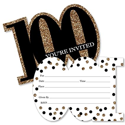 Amazon Com Adult 100th Birthday Gold Shaped Fill In Invitations