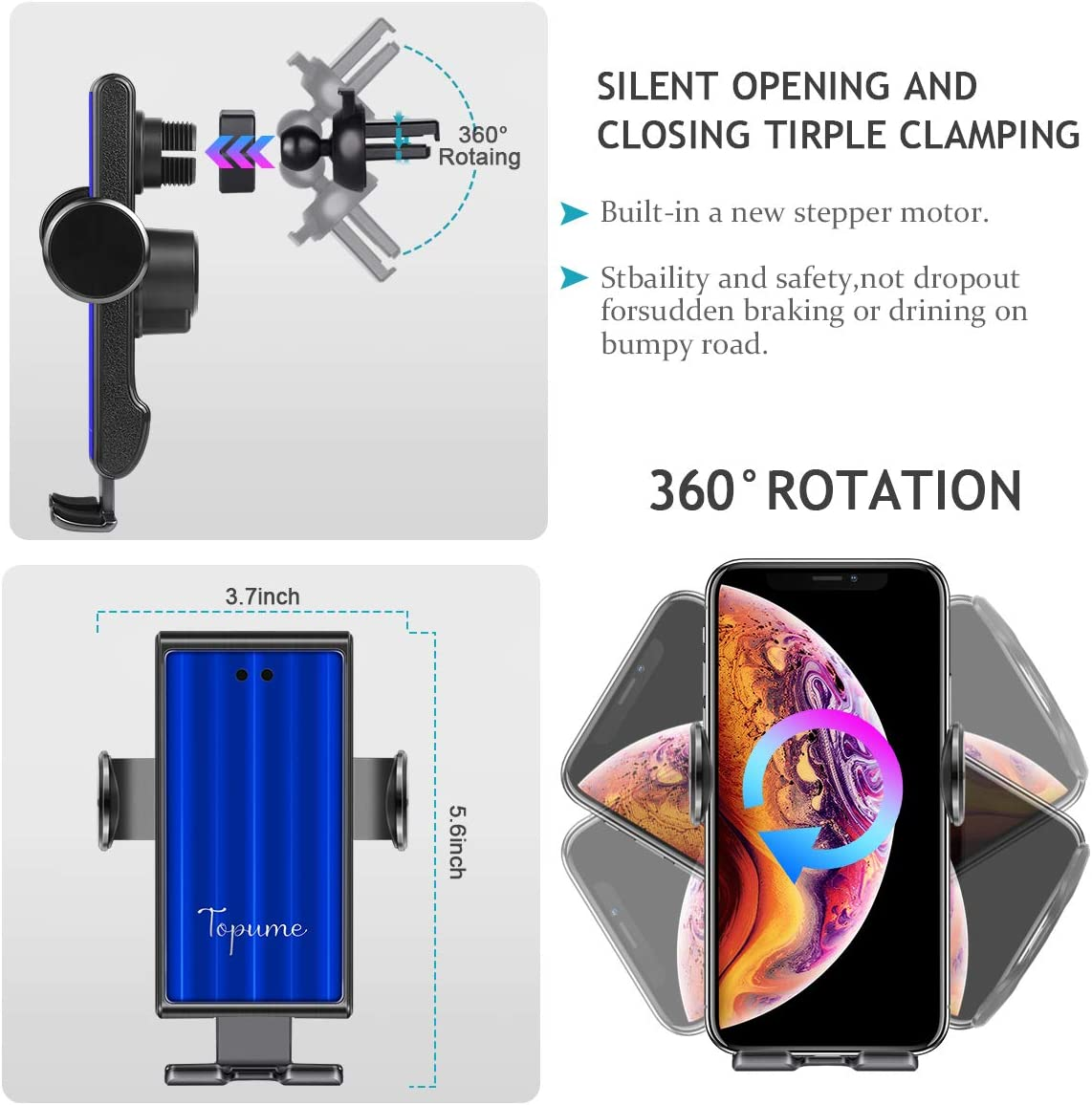 Gold Fast Charging for iPhone11//11Pro//11ProMax//XSMax//XS//XR//X//8//8+,Samsung S10//S9//S8//Note10//Note9 Wireless Car Charger Car Phone Mount Wireless Charger Auto-Clamping Car Phone Air Vent Holder