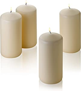 """Light In The Dark French Vanilla Pillar Scented Candles 6"""" Tall X 3"""" Wide Set of 4"""