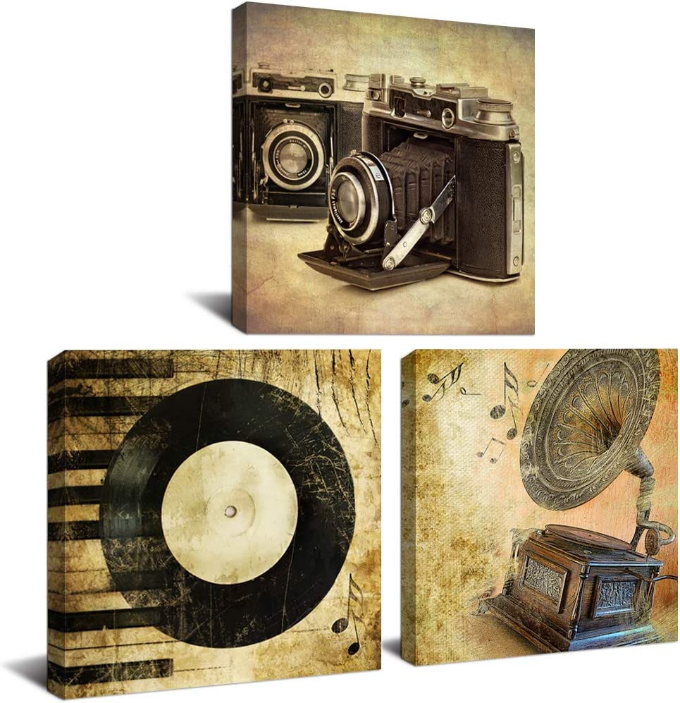 """DekHome 3 Panels Vintage Music Canvas Wall Art Giclee Prints Camera Record Phonograph Painting Picture Print on Canvas Modern Home Decor Stretched Framed Ready to Hang 12""""x12""""x3pc"""