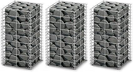 Anself Pezzi Gabbione di Rete Filo Zincato 25 x 25 x 50 Centimetri Set 3