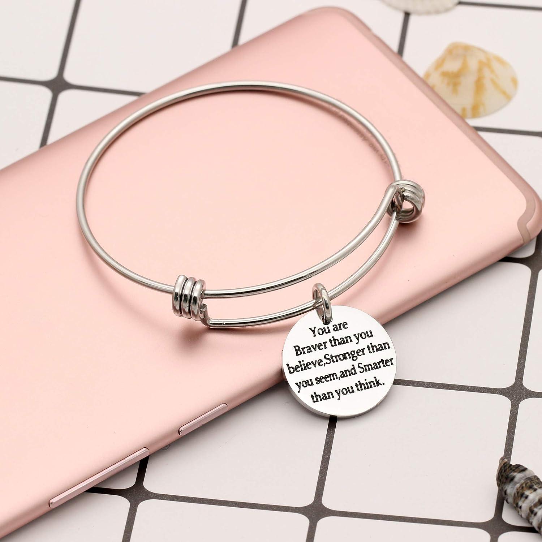 CAROMAY Men Bangle Bracelets Women Adjustable Bangles Birthday Graduation Inspiration Gift for Son Friends Daughter