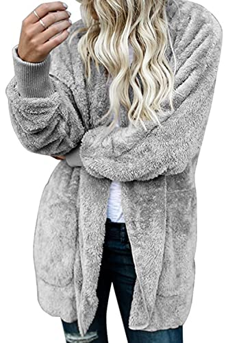 La Mujer De Invierno Fleece Con Capucha Casual Peludo Caliente Suave Frente Abierto Cardigan Chaquet...